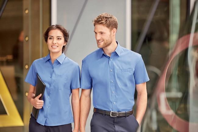 Chemise manches courtes femme popeline pur coton RU937F - Aztec Blue en vente chez Textile Direct