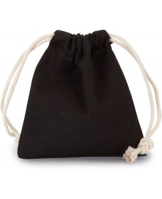 Sac coton à cordon 13 x 15 cm KI0748 - Black