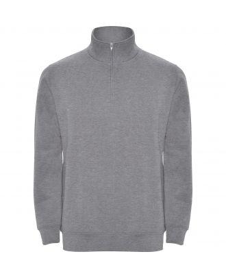 Sweat-shirt homme demi zip ANETO gris chiné