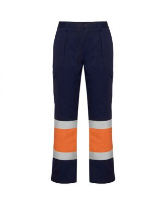 Pantalon haute visibilité multipoches d´hiver SOAN marine/orange fluo