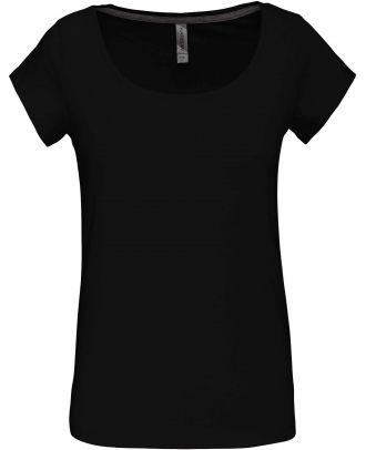 T-shirt femme col bateau manches courtes K384 - Black