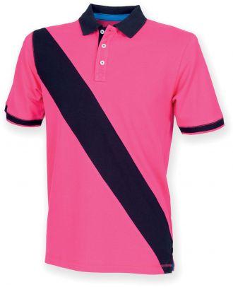 Polo homme diagonal stripe FR212- Bright Pink / Navy