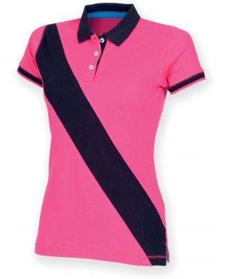 Polo femme diagonal stripe FR213 - Bright Pink / Navy