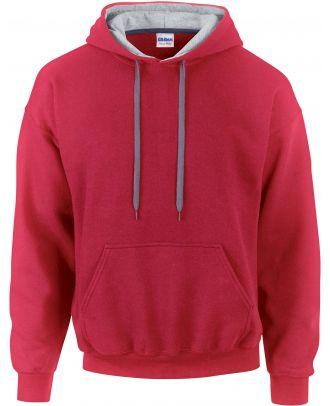 Sweat-shirt homme à capuche zippé 185C00 - Red / Sport grey