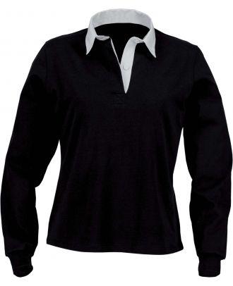 Polo femme rugby uni col blanc K218 - Black