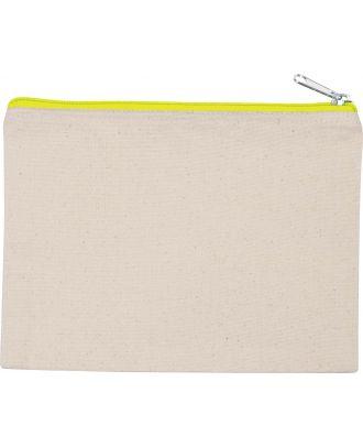 Pochette en coton canvas personnalisable KI0721 - Natural / Fluorescent Yellow