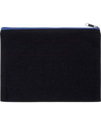 Pochette en coton canvas personnalisable KI0722 - Black / Royal Blue