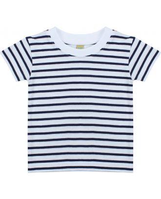 T-shirt bébé rayé manches courtes LW027 - White / Oxford Navy
