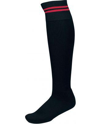 Chaussettes de sport rayées PA015 - Black / Sporty Red