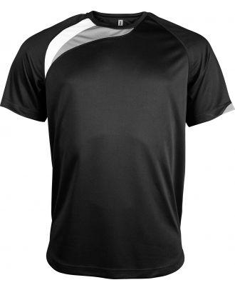 T-shirt unisexe manches courtes sport PA436 - Black / White / Storm Grey