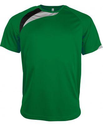 T-shirt unisexe manches courtes sport PA436 - Green / Black / Storm Grey