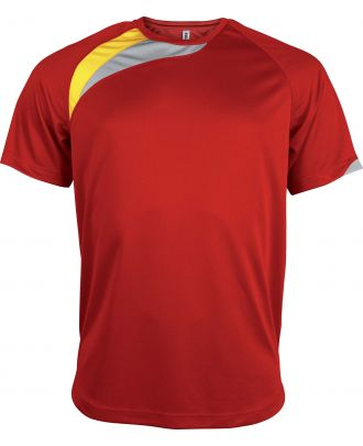 T-shirt unisexe manches courtes sport PA436 - Sporty Red / Sporty Yellow / Storm Grey
