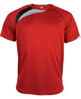T-shirt sport enfant manches courtes PA437 - Sporty Red / Black / Storm Grey
