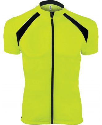 Maillot cycliste homme zippé manches courtes PA447 - Fluorescent Yellow / Black