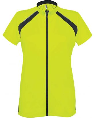 Maillot cycliste femme zippé manches courtes PA448 - Fluorescent Yellow / Black -