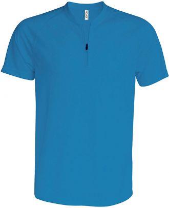 T-shirt 1/4 zip manches courtes unisexe PA486 - Aqua Blue