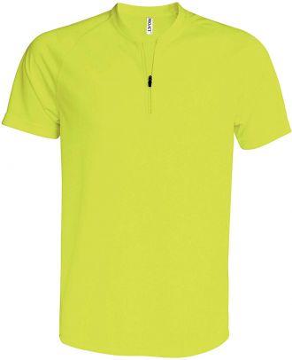 T-shirt 1/4 zip manches courtes unisexe PA486 - Fluorescent Yellow