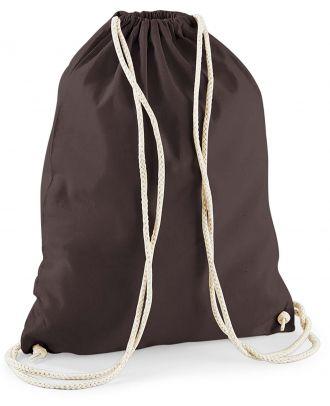 Gymsac en coton W110 - Chocolate - 37 x 46 cm de dos
